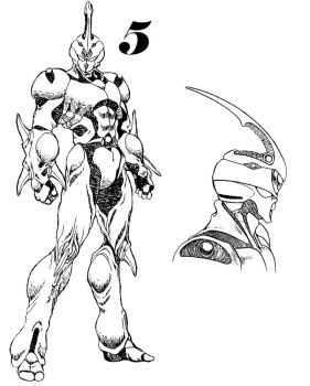 Guyver 5 Line art by lokicube