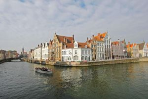 Brugge Waterway and Houses by Lissou-photography