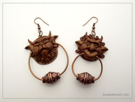 Knocker earrings - Labyrinth by buzhandmade
