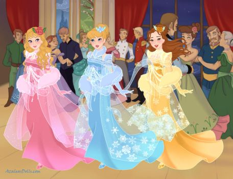 Aurora, Cinderella and Belle in prom dresses by Arts-Of-Mary-Sanders