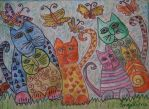 cats with butterflies by ingeline-art
