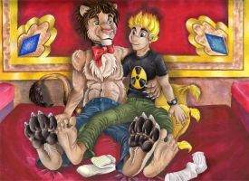 Johnny Test and Archibald Lion by TahvoDerWeisseWolf