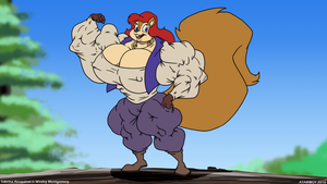 (Commission) Sabrina Airsquirrel Flexing by Wes13