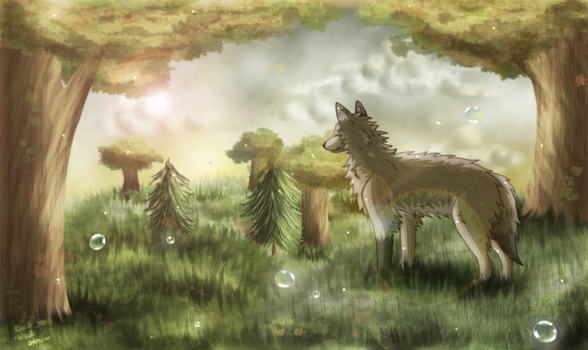 The wolf and the bubbles by Evoli-niceli