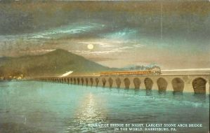 Night Scene Postcards - Rockville Bridge (PRR) by Yesterdays-Paper