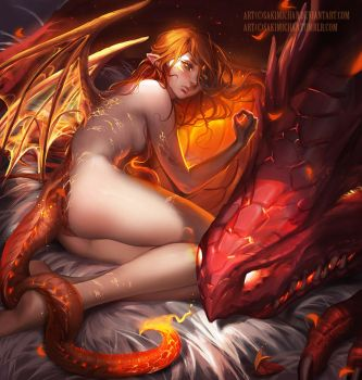 Dragon born . flame. by sakimichan