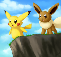 Eevee and Pika by Togechu