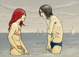Snape and Lily at the sea by Pojypojy