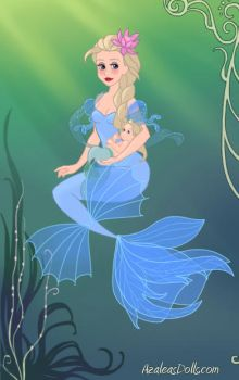 Queen Elsa as a mermaid with her daughter by Arts-Of-Mary-Sanders