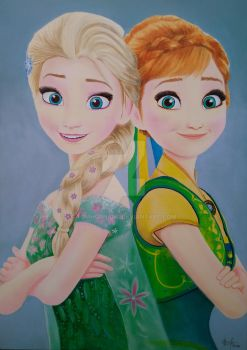 FROZEN Anna and Elsa by TomHornArt