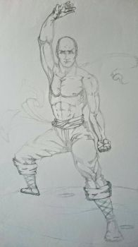 Shaolin monk sketch  by hugofb87