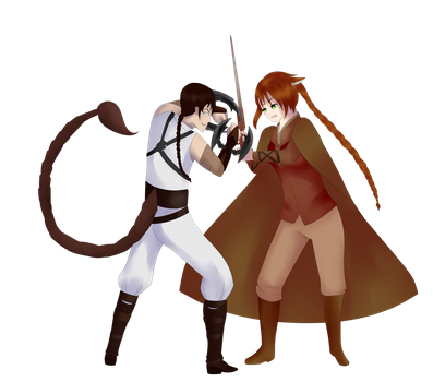 Sienna and Tyrian - RWBY OC Request by madmuffindraws