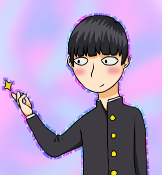 Phone Drawing - Mob Psycho 100 by EnderDurant