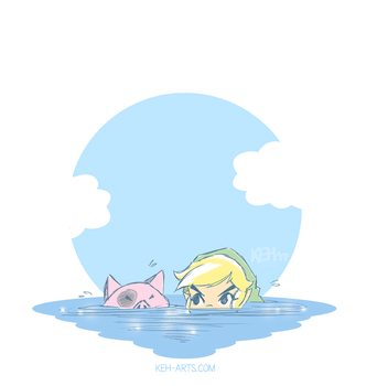 Patreon Request | Link Swimming in the Sea by tea-bug