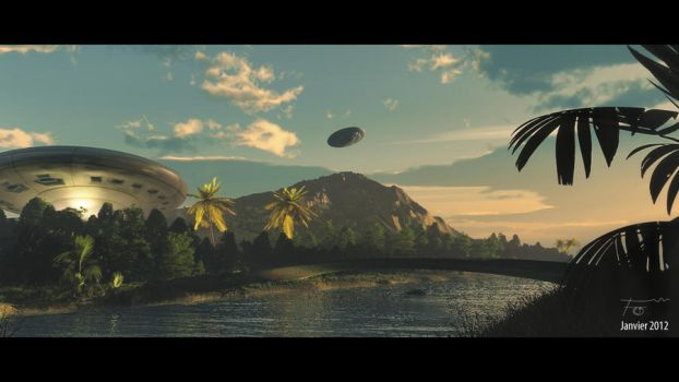 UFO's on the island by Bambass