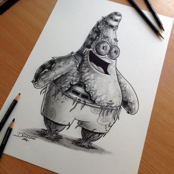 Patrick Star Pencil Drawing by AtomiccircuS