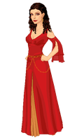 Red and Gold Companion Gown by moara