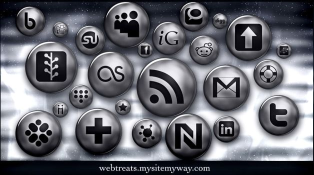 Silver Button Social Media by WebTreatsETC