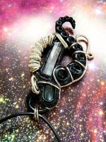 Space Tourmaline wire wrapped polymer clay pendant by dogzillalives
