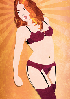 Textured Vector Lingerie Girl by sbeddoesdesign