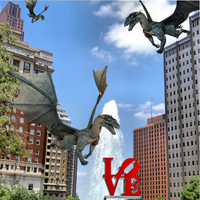 Philly Pic - LOVE park with dragons by GwennAgainCrafts