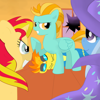 Lightning dust,Trixie and Sunset Shimmer-Spitfire by waffengrunt89
