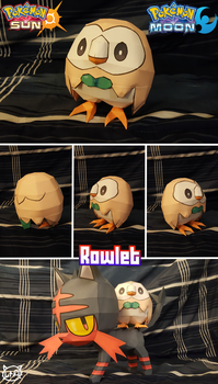 Pokemon Sun and Moon Papercraft ~ Rowlet ~ by SuperRetroBro