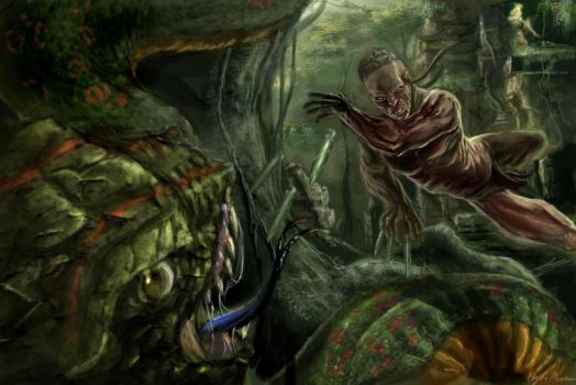 Fighting a giant Snake by emonteon