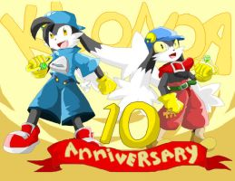 Klonoa's 10th anniverary by Hyrika