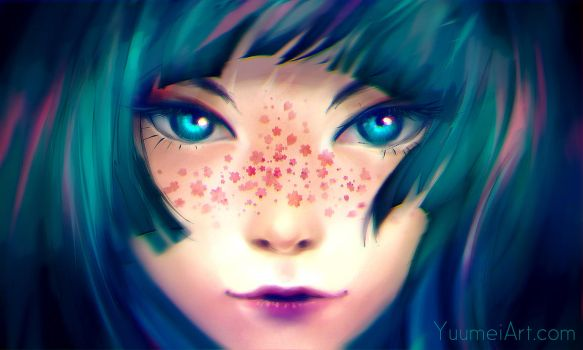 Sakura Freckles (Speedpaint Video linked) by yuumei