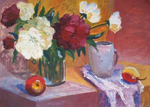 Peonies with apple by Luzblanca