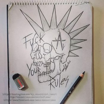 Punk Skull tattoo design sketch by vonSchloss