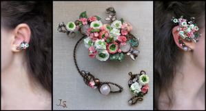 Ear cuffs Summer garden by JuliaKotreJewelry