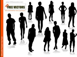 People Silhoutte Vector by 123freevectors
