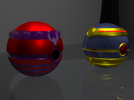 Ciclop and Magneto fan made 3D pokeballs by HaizeaShepard