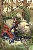 Spider-man cover- The Lizard by diablo2003